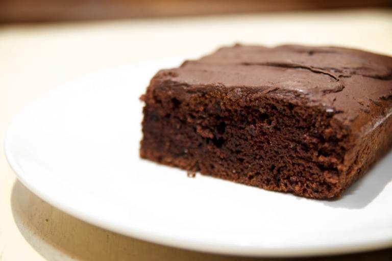 A delicious chocolate brownie